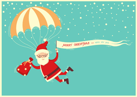 Santa Claus with parachute on blue sky background.Merry christmas card illustration Illustration