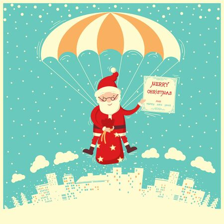 Santa Claus on parachute fly in winter sky.Merry christmas and new year card Illustration