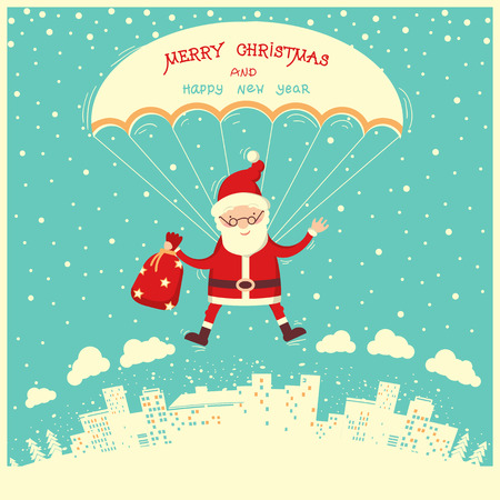 Santa Claus on parachute fly in winter blue sky.Merry christmas and new year card