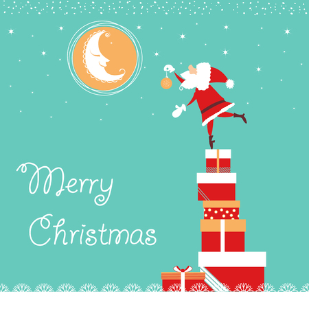 christmas card with Santa and nice moon.Vector tender blue card illustration with text