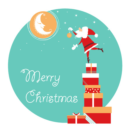 Santa and nice moon christmas card.Vector illustration with text