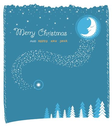 nice moon and stars.Vector christmas card with text