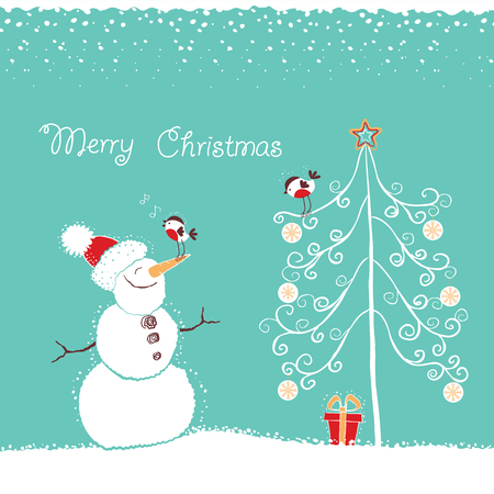 Christmas card background with smiling snowman and christmas tree on snow.Vector hand drawn illustration Illustration