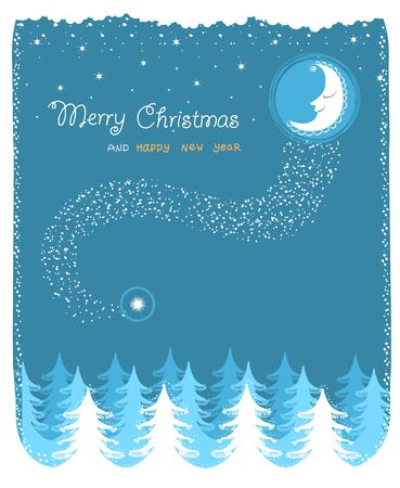 Winter landscape with nice bright moon.Vector christmas card with text