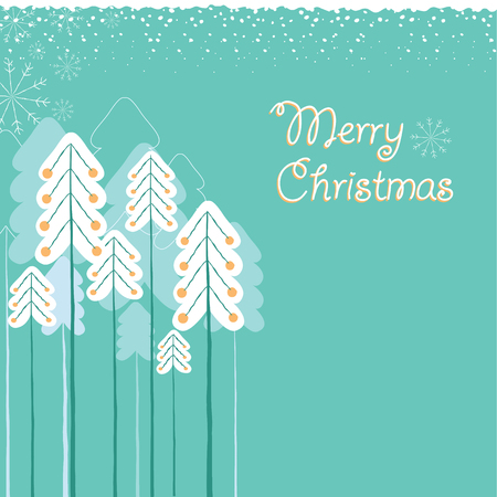 Christmas card with trees.Vector illustration background with holiday text Illustration