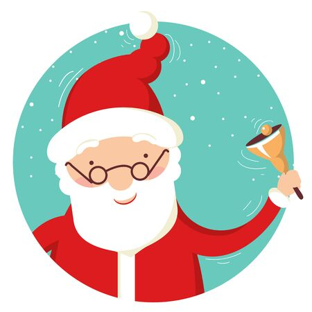Santa Claus portrait with christmas bell.Merry christmas and new year card