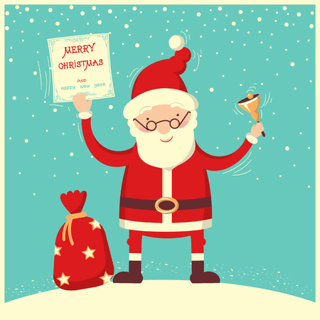 Santa Claus and christmas bell.Merry christmas and new year card