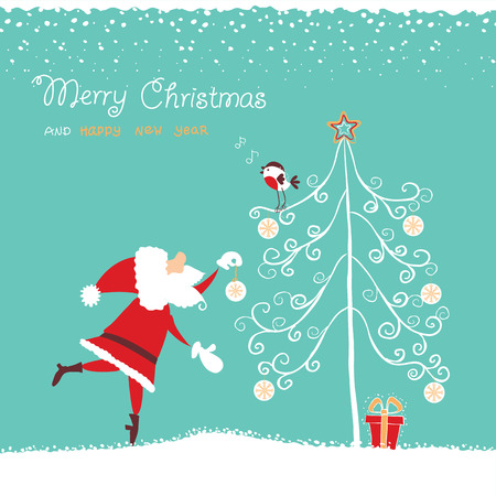 santa in red hat and bullfinch singing christmas song.Vector hand drawn illustration
