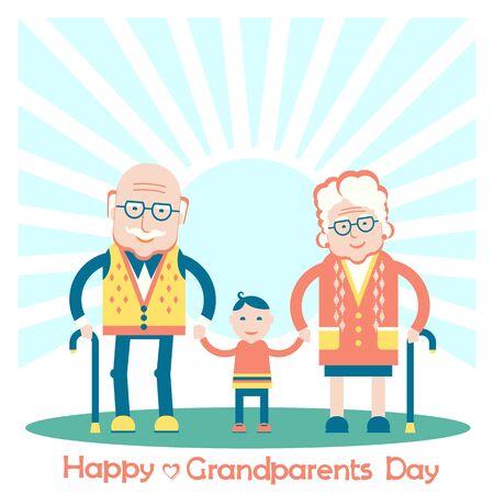 Grandparents with grandchild.Vector family illustration