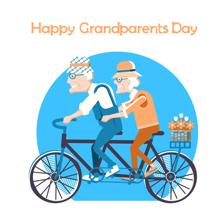 Happy Grandparents Day holiday card.Old man and old woman drive by bike outdoor