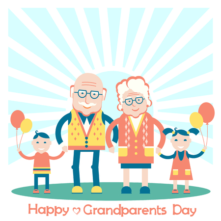 Grandparents with grandchildren.Vector family illustration Illustration
