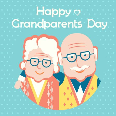 Happy Grandparents Day.Vector holiday card with portrait of old people Illustration