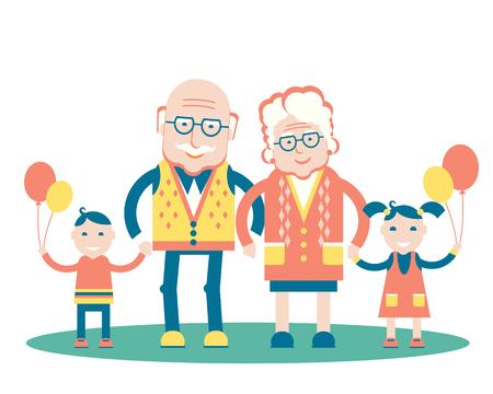 Grootouders met kleinkinderen.Vector familie illustratie geïsoleerd op wit Stock Illustratie