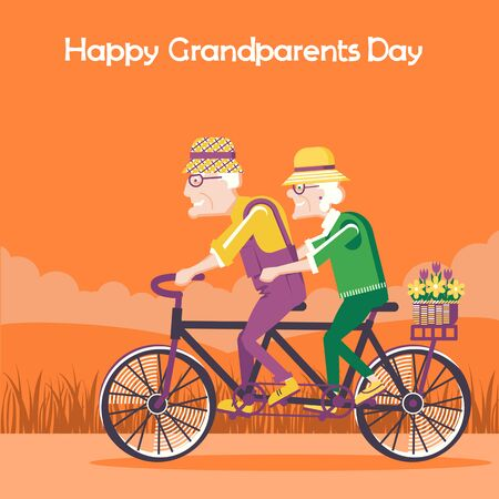 Happy Grandparents Day card.Old man and old woman drive by bike outdoor