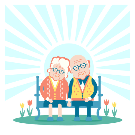 Grandparents are sitting outdoor.Vector illustration couple of old people Stock Vector - 82356464