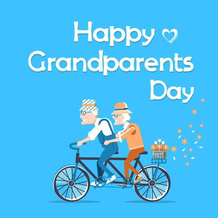 Happy Grandparents Day.Vector holiday card with old man and ol woman drive by bike