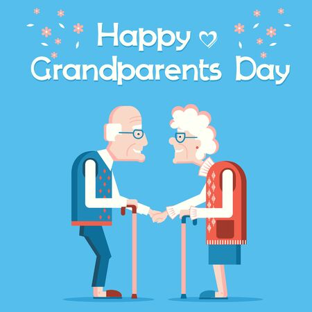 Happy Grandparents Day.Vector holiday card with couple of old people