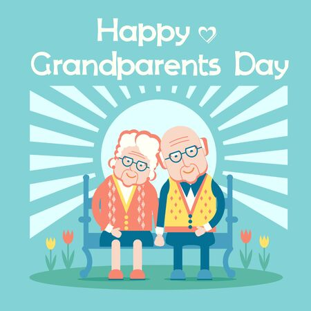Happy Grandparents Day.Vector holiday card with couple of old people sit outdoor