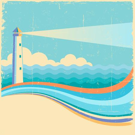 Lighthouse.Vintage sea waves background on old texture