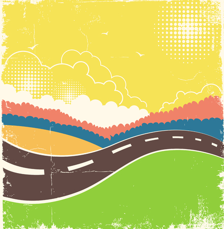 Nature background with road and country landscape on old paper texture.Vector illustration