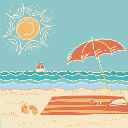 Beach scene.Vector sea landscape background with umbrella and flip flops Illustration