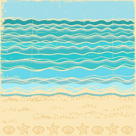 Beach scene.Vintage sea landscape with blue waves in summer day