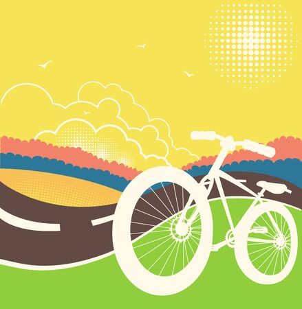 Bike on country road illustration.Vector nature landscape with summer sky