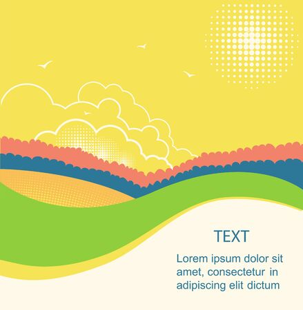 Rural landscape for text.Vector nature country landscape with summer sky Çizim
