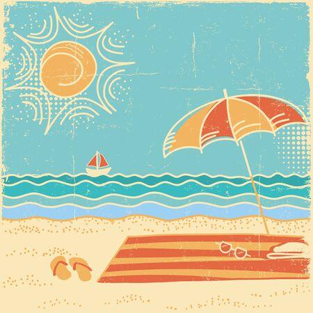 Beach scene.Vector vintage sea landscape with umbrella and flip flops