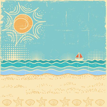 Beach scene.Vintage sea landscape with waves and sun sky in summer day Illustration
