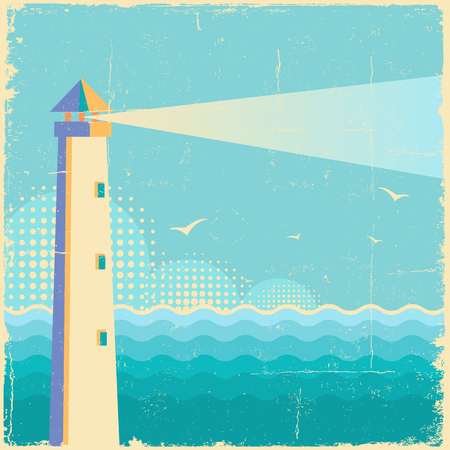 Lighthouse.Vintage sea waves poster background on old paper texture