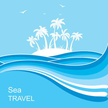 Tropical island.Sea waves blue background illustration for text