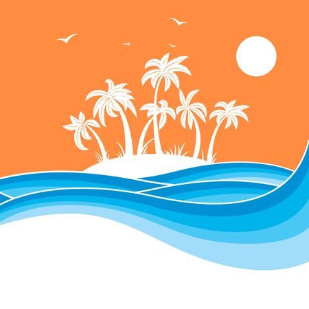 Tropical island woth palms.Sea waves blue background illustration for text Illustration