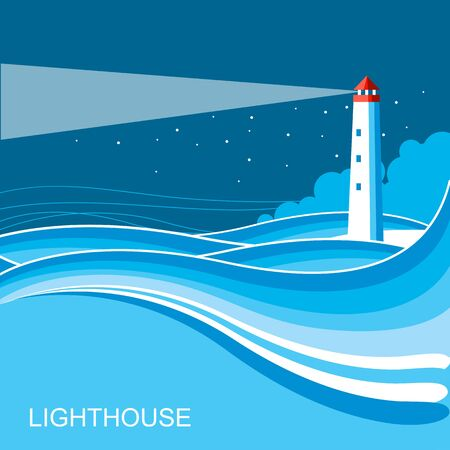 Lighthouse nature background.Blue illustration for text
