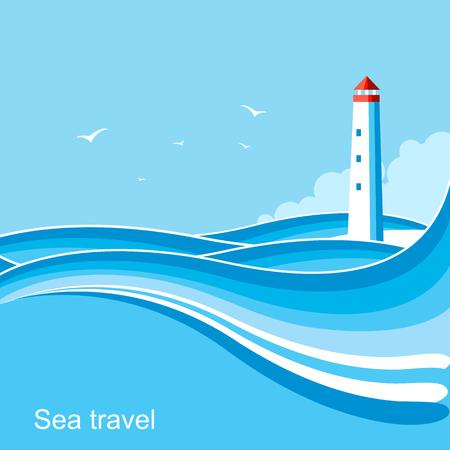 Lighthouse nature .Blue illustration for text. Illustration