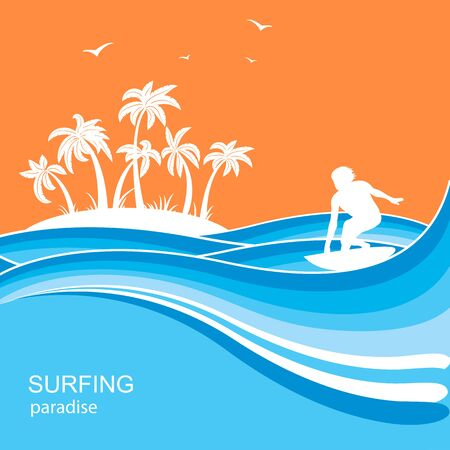 Surfer and sea waves .Summer nature illustration for text