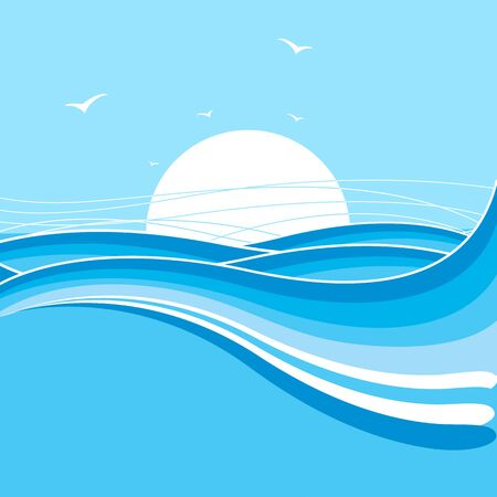 Sea and sun .Nature illustration with blue waves