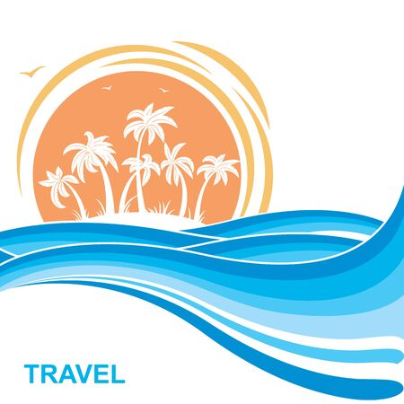 Tropical island and sun.Sea waves blue illustration for text. Illustration