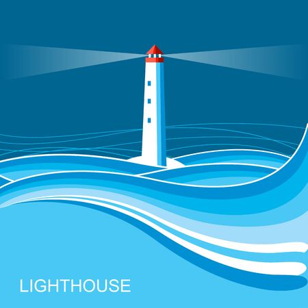 Lighthouse nature .Blue illustration with text