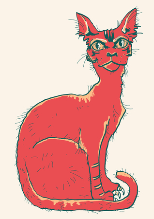 Red cat. Hand drawn color scetch of animal isolated on white Ilustrace