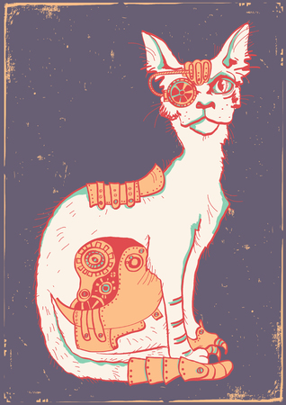 Cat with mechanical parts of body. Hand color drawn animal cat with mechanical body on old vintage paper poster