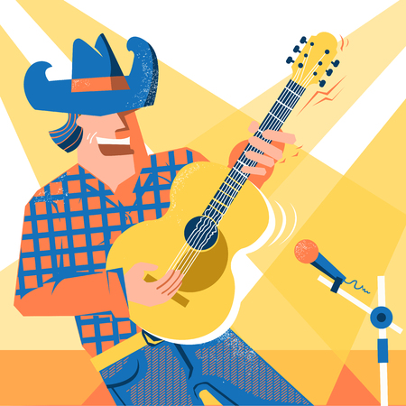 Musician man in American cowboy hat and blue jeans style palying the guitar and singing .Vector music festival poster