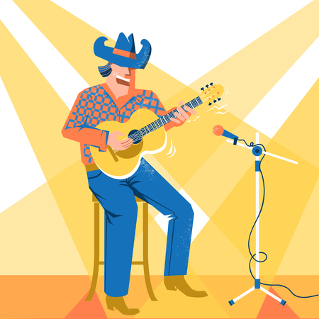 Musician man in American cowboy hat palying the guitar and singing .Vector music festival concert