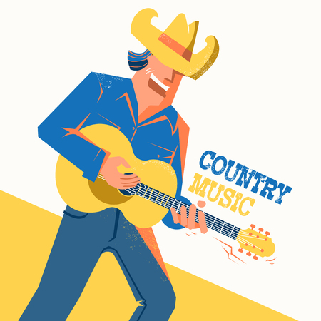 Musician in American cowboy hat palying the guitar and singing .Vector music poster