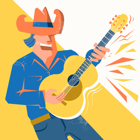 Guitar player man in cowboy hat singing and palying the acoustic guitar .Vector music poster with text Çizim
