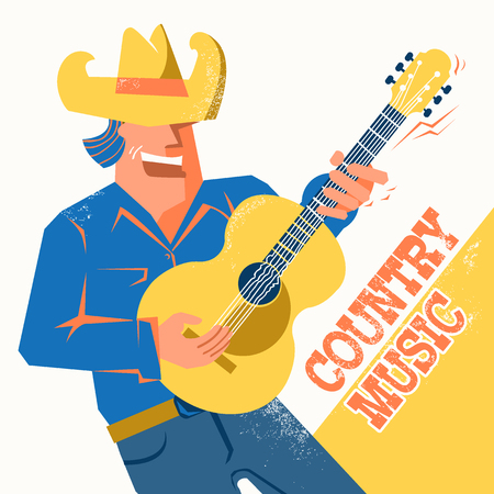 Musician in American cowboy hat palying the guitar and singing .Vector music poster with text Ilustrace