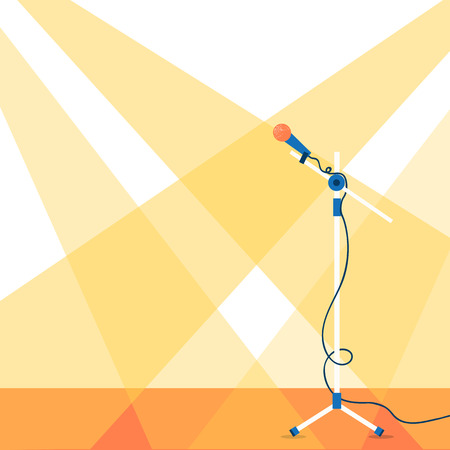 Stage with microphone.Vector background Ilustrace
