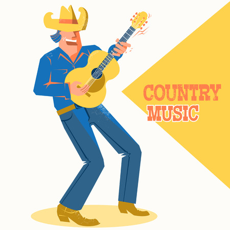 Musician man in American cowboy hat palying the guitar and singing .Vector music poster with text