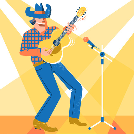 Musician man in American cowboy hat palying the guitar and singing .Vector music festival poster