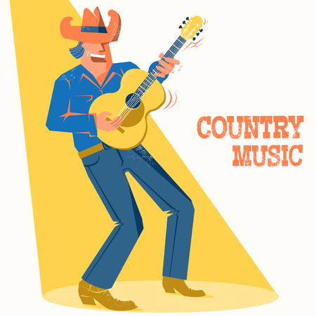 Musician man in American cowboy hat palying the guitar and singing .Vector music festival poster with text Ilustrace
